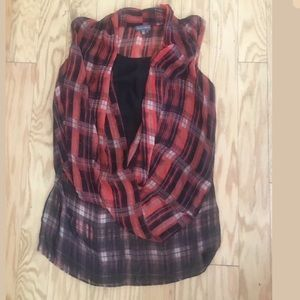 VINCE CAMUTO Red Plaid Sleeveless Blouse Top